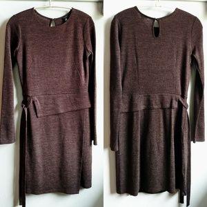 Ann Taylor Semi Peplum Side-tie Brown Midi Dress